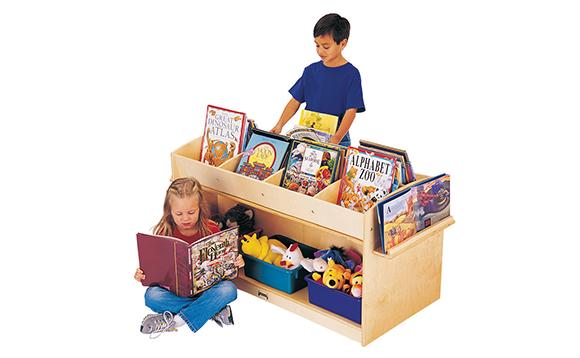 pr sentoir livres mobile avec rangement brault bouthillier. Black Bedroom Furniture Sets. Home Design Ideas
