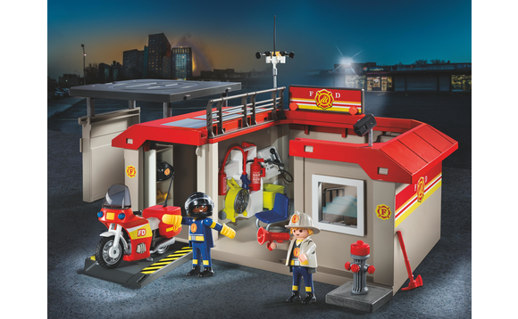 playmobil caserne de pompiers transportable brault. Black Bedroom Furniture Sets. Home Design Ideas